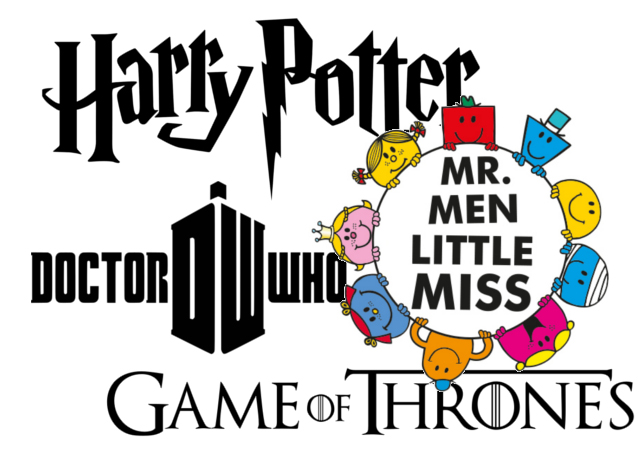 Mr Men, Dr Who, Harry Potter, Game of Thrones logos